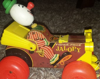1965 Fisher Price Jalopy wooden pull toy