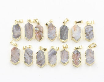 Druzy Pendants -- With Electroplated Gold Edge Handmade Drusy Geode Charm CQA-012