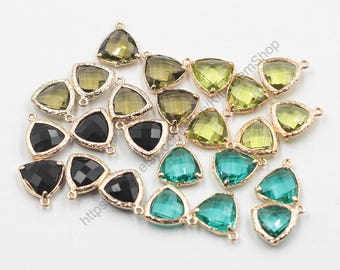 2 Pieces Faceted Crystal Bezel Pendants -- With Electroplated Gold Edge Charms Wholesale Supplies CQA-066,YHA