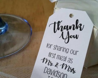 """2.3"""" x 1.4"""" Personalized Thank You For Sharing Our First Meal As Mr Mrs Wedding Favor Thank You Hang Tags"""