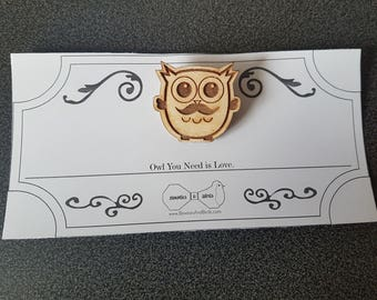 Gentle Owl | Button | Key dangler | Necklace | Lasercut