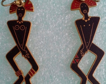 "Laurel Burch ""primal spirits""dangle earrings french hook"