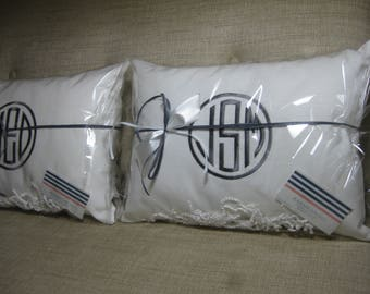 Set of (2) Monogrammed Pillows White Slub Linen  w/ INSERTS Circle Monogram(Choose Size)/Baby Gift, Wedding GIft, Shower Gift,Dorm Decor,
