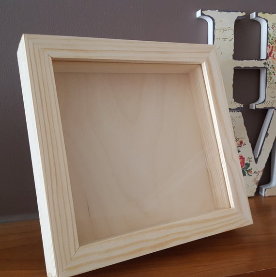 shadow box frame square natural wood shadow box shadow box display case 6x6x15 inch picture frame home decor wedding frame gift