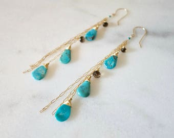Turquoise and Smokey Quartz Earrings