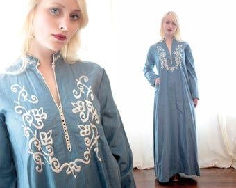 Vintage 1960s 1970s chambray Blue silk caftan dress embroidered ethnic middle Eastern inspired Longsleeve deep neck bohemian BoHo