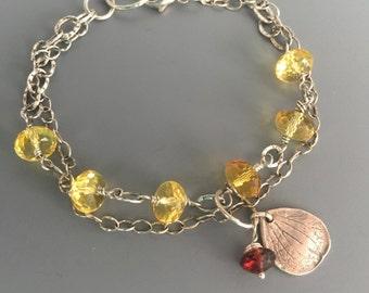 citrine bracelet, citrine and sterling silver bracelet,November birthstone  bracelet, layering bracelet
