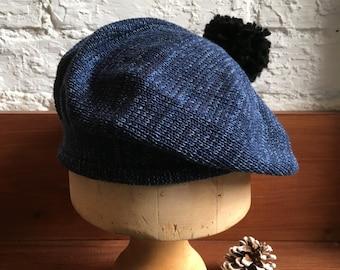 Denim indigo blue mix all-cotton knitted pompom beret for women