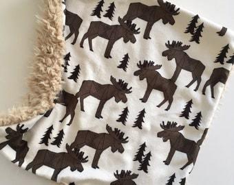 Moose lovey, Forest Animal Baby lovey security Blanket, minky Baby Blanket, Woodland Nursery, Forest Nursery, bear moose Baby Shower g