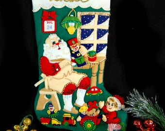 Vintage Bucilla Christmas Stocking Completed, Father's Christmas Stocking, Vintage Christmas, Vintage Christmas Stocking, Santa Toys Elf