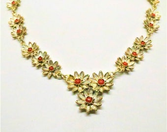 Floral Necklace - Vintage, 800 Silver Marked, Gold Wash, White Enamel and Carnelian Centers