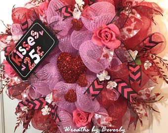 Valentine's Day Wreath Love Wreath Heart Wreath Deco Mesh Wreath Large Red & Pink Heart Shaped Valentine's Day Wreath