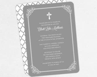 Boy Baptism Invitation, Christening Invitation, Printable Baptism Invitation, Invitation PDF, DIY Invitation, Classic, Modern, Gray, Elliott