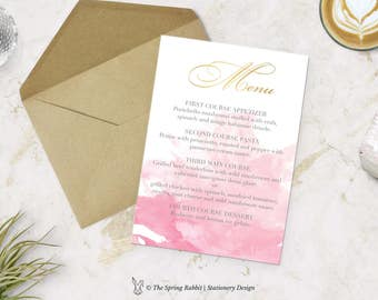 Pink Watercolour Printable Menu Card - Watercolour Menu Card - Customizable invitations - DIY Wedding Invitation Set