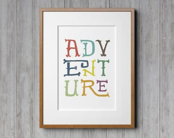 Adventure, Rustic Home Decor, Rustic Wall Decor, Woodland Decor, Woodland, Rustic Letters, Typography, Nursery, Adventure Awaits, Kids Room