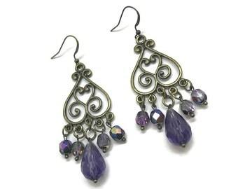Purple Chandelier Earrings, Bronze Earrings, Purple Earrings, Long Earrings, Statement Earrings, Plum Earrings, Violet Earrings, Earrings