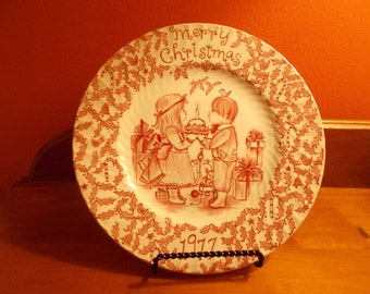 "Vintage Red Transferware Royal Crownford ""Merry Christmas A Happy Holiday to You"" Plate - By Norma Sherman, Staffordshire, England"