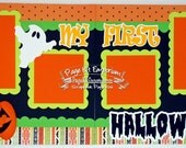 Scrapbook Page Kit First Halloween Boy Girl Baby Pumpkins 2 page Scrapbook Layout 52