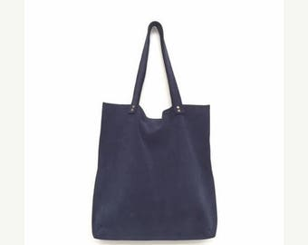 Blue suede bag,Navy tote bag,Blue suede tote bag,Blue leather bag,Blue leather handbag