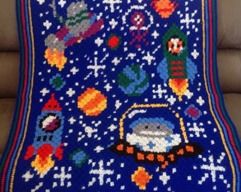 Handmade Astronauts in Space Crochet Blanket