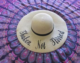 Shaken Not Stirred Beach Hat, Floppy Hat, Sun Hat, Straw Hat, Ladies Sun Hat, Bachelorette Party, Girls Weekend Away