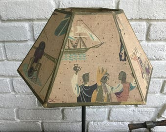 Vintage fabric six sided lampshade history Paul revere colonial  vegetable tones