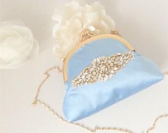 Charming Kiss Lock Bridal Clutch Bag in Antique Blue