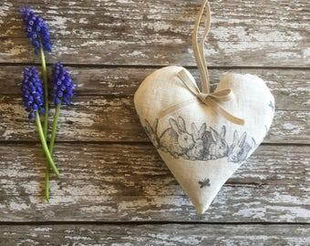 Lavender Heart in Peony & Sage Hip Hop Linen - beautiful grey bunnies