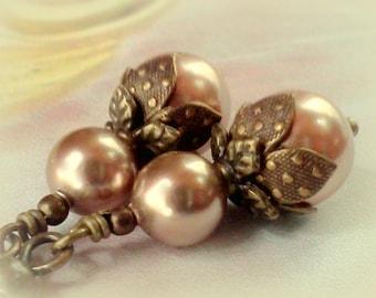 Swarovski Pearls, Rose Gold Earrings, Swarovski Rose Gold, Crystal Pearls, Pearl Earrings, Vintage Style Pearls, Handmade Earrings, For Her