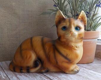 Ceramic Cat Figurine- Vintage 60's HK Cat- Kitsch Cat Collectible- Cat Figurine- Cat Shelf  Decor