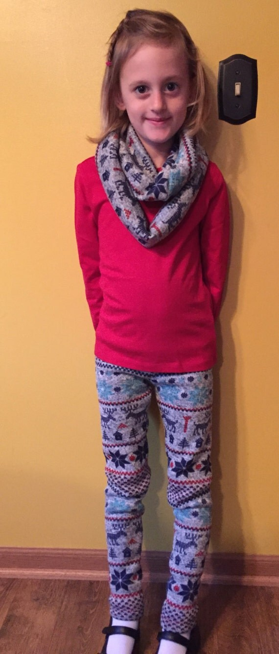 Girls leggings / sweater fleece leggings / three prints /  winter leggings / girls infinity scarf / sweater fleece infinity scarf