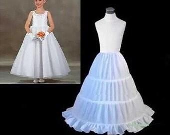 Girl White Petticoat Under Slip 3 hoops  White Flower Girl Dress