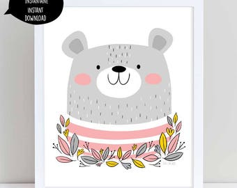 bear illustration, bear art, bear art print, bear wall art, bear wall decor, nursery wall art, woodland art, printable wall art, bear print