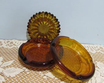 Amber Ashtrays ~ Collection of 3 Round Amber Ashtrays ~ Barware ~ Mad Men Era ~ Retro Décor ~ Man Cave