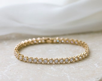 Jewelry for Bride, Gold Bridal Bracelet, CZ Crystal Tennis Bracelet, Wedding Accessories, Simple Solitaire Jewelry, Bridesmaid gifts, B245-G