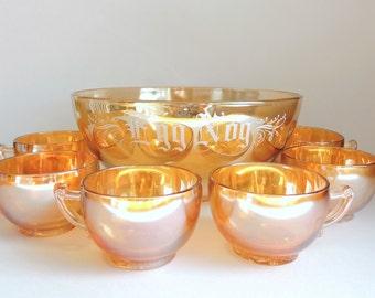 Vintage Egg Nog Bowl and Cups, Jeannette Marigold Camelia Egg Nog Set, Peach Carnival Glass Bowl and 6 Tea Cups, Christmas Eggnog Punch Bowl