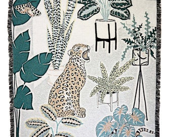 Leopard throw, Woven Blanket, Mid-century plant stand motif jacquard throw