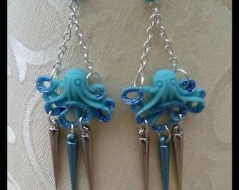 Blue Octopus & Spike Dangle Drop Earrings