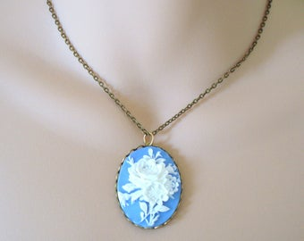 White Roses Cameo Necklace, Blue Cameo Pendant, Floral Rose Necklace, Large Cameo Necklace, Antiqued Necklace