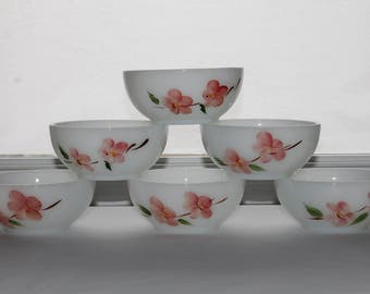 Set of 6 Vintage Fire King Gay Fad Studios PEACH BLOSSOM Chili Cereal Bowls