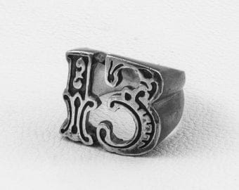 Lucky 13 Ring, Sterling Silver Ring, Gothic Jewelry Ring, Steampunk Ring, Contemporary Ring, Hipster Ring, Custom Ring, Gambler Ring Hipster