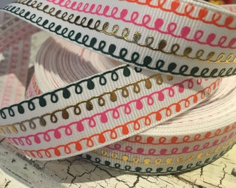 "3 yards 7/8"" multicolor squiggles metallic gold grosgrain ribbon"