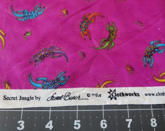 Laurel Burch fabric Secret Jungle Gecko fushia fabric fat quarter by Clothworks