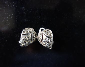 Vintage Marcasite Heart shaped earrings 1960's
