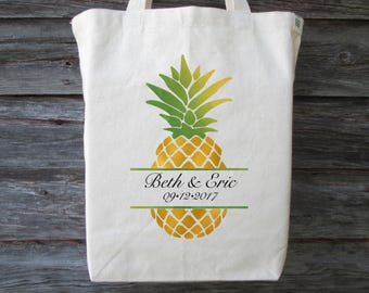 Pineapple Wedding Tote Bag, Pineapple Wedding, Destination Wedding Tote, Wedding Welcome Bag, Pineapple Tote, Wedding Gift Bag, Hawaii Tote