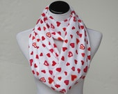 Valentine scarf, hearts infinity scarf red pink hearts on white Valentine's day accessory scarf, loop scarf, gift for women and teen girls