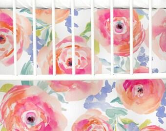 Bright Summer Bloom Flat Panel Skirt | Floral, Watercolor Floral, Flat Panel Crib Skirt | Floral Inspired Crib Bedding | Watercolor Nursery