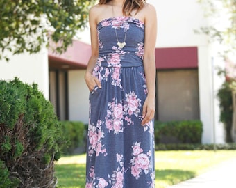 Floral Maxi Dress With Side Pocket