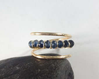 Sapphire Ring, Gold Fill Ombre Sapphire Ring Stacking Ring September Birthstone Ring, Sapphire Ring, Sapphire Jewelry 5th Anniversary (#492)