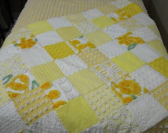Yellow and White chenille Quilt made from a vintage Bedspread CC, MJ, Vantona